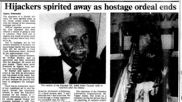 Tear out from The Age, April 21, 1988. The hijackers escape as the hostage crisis ends.