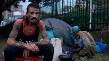 Rolling stone: Dave sleeps rough in tents at Belmore Park as services for the homeless are full to capacity.