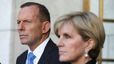 Foreign Minister Julie Bishop with former prime minister Tony Abbott.
