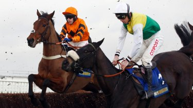 Many Clouds (right) collapsed at Cheltenham after the Betbright Trial Cotswold Chase.