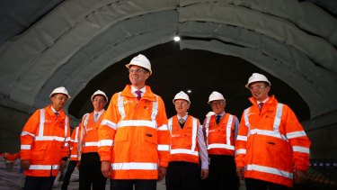 NSW Premier Mike Baird at the Sydney Metro Northwest in June. Public submissions on the new metro rail project closed last week.