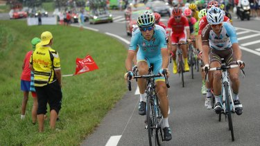 Vincenzo Nibali leads a breakaway during stage seven.
