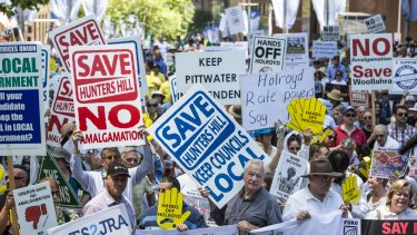Opponents to council amalgamation rallied in Martin Place in November 2015.