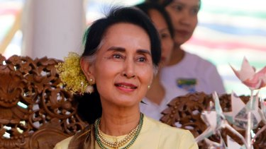 On track for victory: Aung San Suu Kyi.