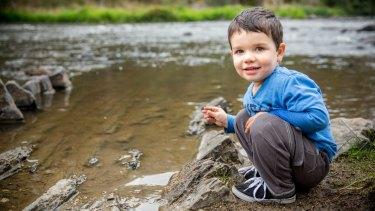 Alexander Glenister, 2, enjoys the clean water at Warrandyte Bridge.