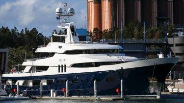 Felix docked at Sydney Superyacht Marina this week.