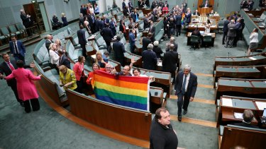 Celebrations: After the vote on the Marriage Amendment Bill at Parliament House.