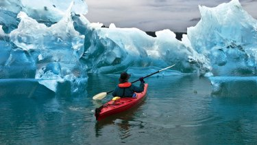 The incredible blue hues of Alaska's icebergs.
