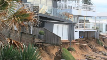Tony Cagorski's house teeters on the edge on Collaroy Beach.