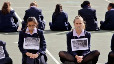 Students at Bethlehem College Ashfield protest about the government's treatment of asylum seekers.