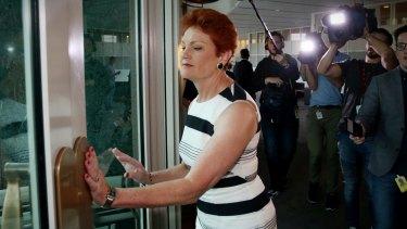 Senator Hanson departs a White Ribbon breakfast at Parliament House on Wednesday.