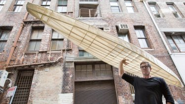 Designer Andrew Simpson of Vert studios with his O SixHundred kayak which weighs less than 10kgs. He designed it based on ancient Inuit vessels.