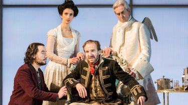 From left: Tim McMullan, Indira Varma, Ralph Fiennes and Nicholas le Prevost in <i>Man and Superman</i>.