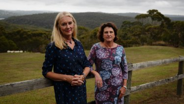 Anne Cullinan and Verity Hinwood pictured near their Elanora Heights homes.