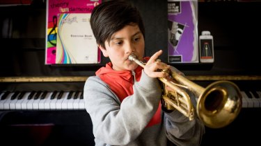 Sidney Bertram, 10, has played the trumpet for about a year.