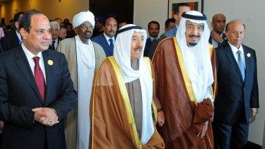 New alliance: From left, Egyptian President Abdel-Fattah al-Sisi, Sudanese President Omar Hassan al-Bashir, Kuwait's Emir Sheikh Sabah al-Ahmad al-Jaber al-Sabah, Saudi Arabia's King Salman and Yemeni President Abed Rabbo Mansour Hadi at a summit meeting in Egypt in March.