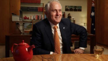 Prime Minister Malcolm Turnbull in the Prime Minister's suite at Parliament House in Canberra on Wednesday.
