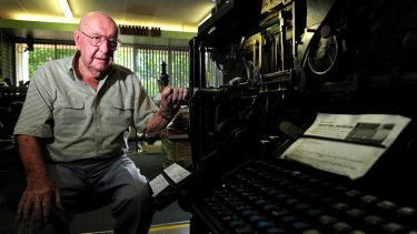Jim Woods in 2012, aged 99, at his Museum of Printing in Queanbeyan.