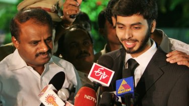 Mohamed Haneef, right, addresses media in India in 2007 after he was released from being wrongly charged and detained in Australia.