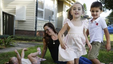 Optimistic: Yana Betros's with her children (from left) Maddison, Emily and Jayden at their St Marys home.
