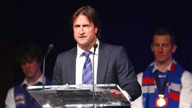 Bulldogs coach Luke Beveridge speaks at the club's post-match function.