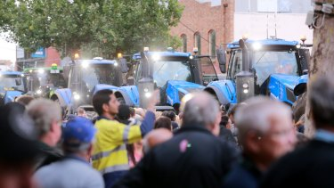 The tractors atMonday night's protest were a reference to a successful 1998 protest led by Werribee residents against a proposed toxic waste dump in the area.