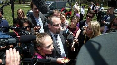 Senator Ricky Muir outside Parliament House on Tuesday.
