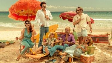 'Swinging Safari' cast Radha Mitchell, Julian McMahon, Kylie Minogue, Guy Pearce, Jeremy Sims, Asher Keddie.