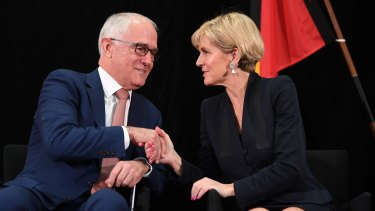Leadership talk has reared its head – again. The Prime Minister with his deputy, Julie Bishop.
