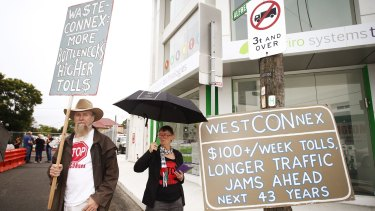 St Peters residents protest  against the WestConnex motorway project on Friday.