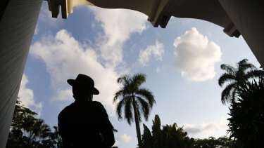 A Gurkha police officer stands guard at a heavily secured venue of the Shangri-la Dialogue at the Asia security summit.