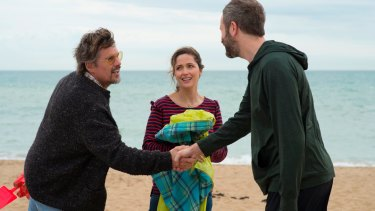 Ethan Hawke, Rose Byrne and Chris O'Dowd in a scene from Juliet, Naked.