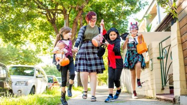Tiffany Basili, her daughter Samara and friends George and Maia are ready for Halloween.