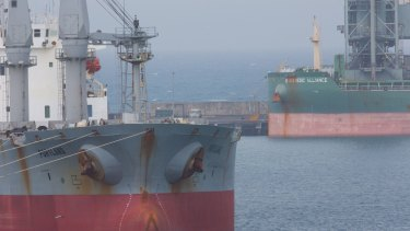 MV Portland. Strategic Alliance is berthed in the background.