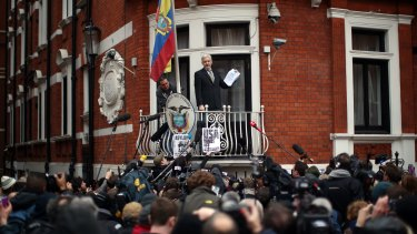 Julian Assange on the balcony of the Ecuadorian embassy in London last year.