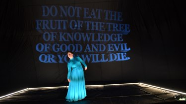 Sarah Mainwaring, who plays Lady, in Back To Back Theatre's new show Lady Eats Apple.