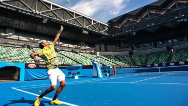 Nick Kyrgios on the newly opened Margaret Court Arena in December 2013. This year the retractable roof on the court will be operational for the first time.