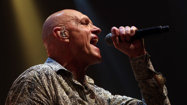 Post politics: Peter Garrett back on stage with Midnight Oil last year.