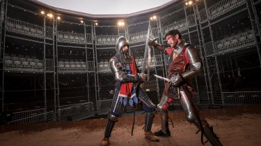 Gore blimey: Chris Huntly-Turner and Antonio Te Maioha at the Pop-up Globe in Melbourne.