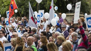 Protesters rally against government cuts to the CSIRO at the State Library of Victoria on April 2.