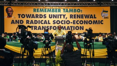 Jacob Zuma, South Africa's president, speaks during the ANC conference.