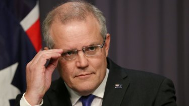 Treasurer Scott Morrison addresses the media during a press conference at Parliament House.