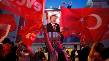 Supporters of president Erdogan in Istanbul on Sunday.
