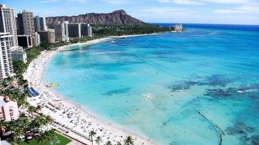 Waikiki Beach and Diamond Head, Hawaii.