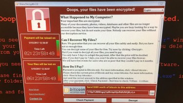 A screen shot from Twitter of a computer at Greater Preston Clinical Commissioning Group showing a message presumably generated by an international cyber attack.