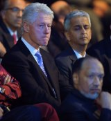 Not happy: Clinton at the vote announcement for the 2022 World Cup in Zurich in 2010. In the foreground is Mohamed Bin Hammam.