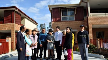 Salt and pepper precinct: Pru Goward opened the re-developed social housing complex in Riverwood last year.