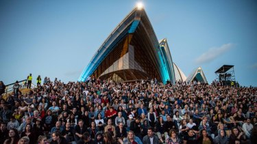 The Opera House forecourt was packed for the first of two shows the singer will perform there.