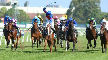 Happier times: Kathy O'Hara rides Single Gaze to win The Vinery Stud Stakes.