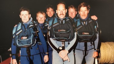 Shane Connelly, second from left, with the police diving team. Connelly's diving role saw him undertake an exhaustive underwater search for the Winchester murder weapon.